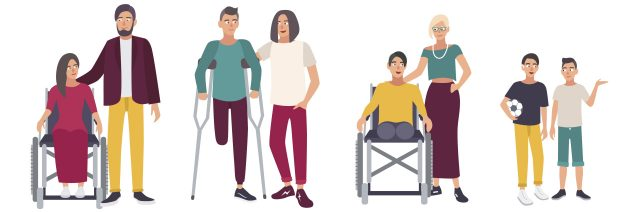 Cartoon people with disabilities.