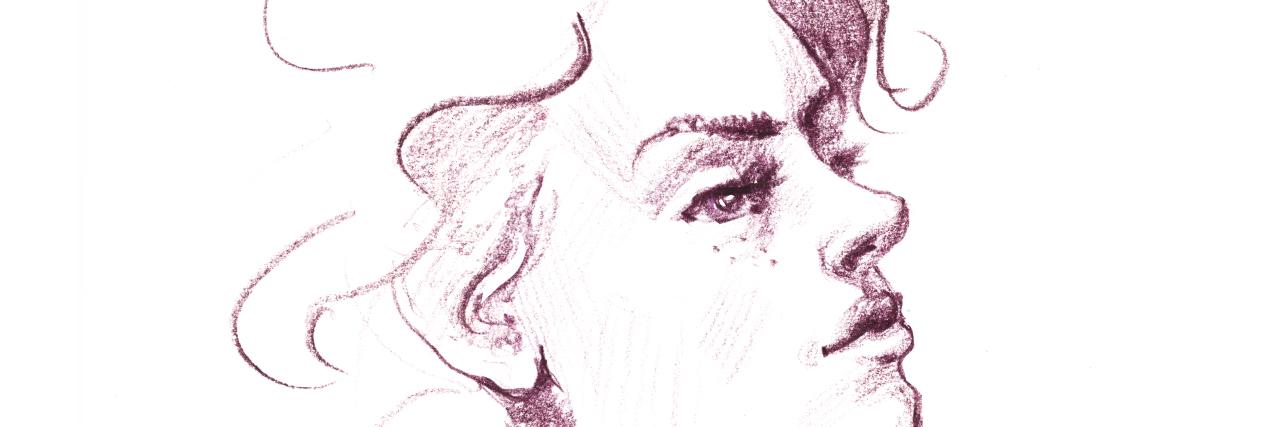hand drawn illustration woman . Freehand sketch. Female portrait