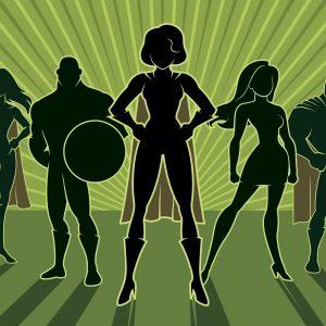 Team of superheroes -- cartoon drawing.