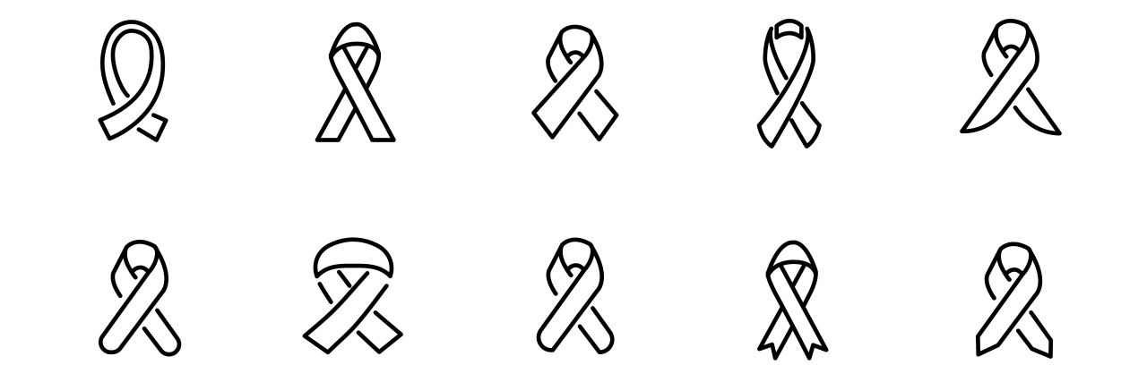 Modern outline style HIV icons collection.
