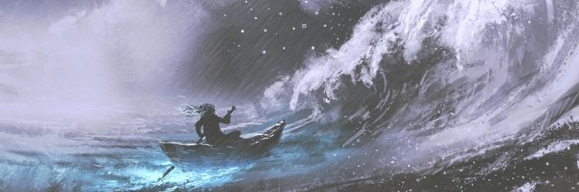 person in a boat rowing into rough waves