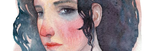 illustration of a woman with brown and blue hair looking sad