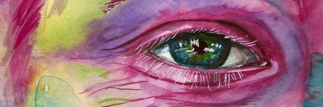 watercolor painting of a woman's face, focused on one eye