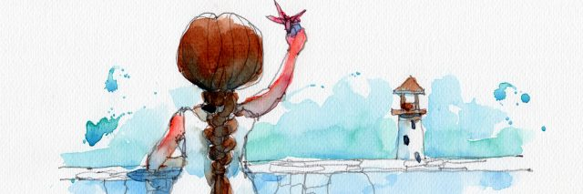 watercolor painting illustration set of girl in white dress with red paper birds and lighthouse, hand drawn on paper