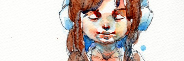 watercolor painting of a girl walking with a backpack and wearing headphones