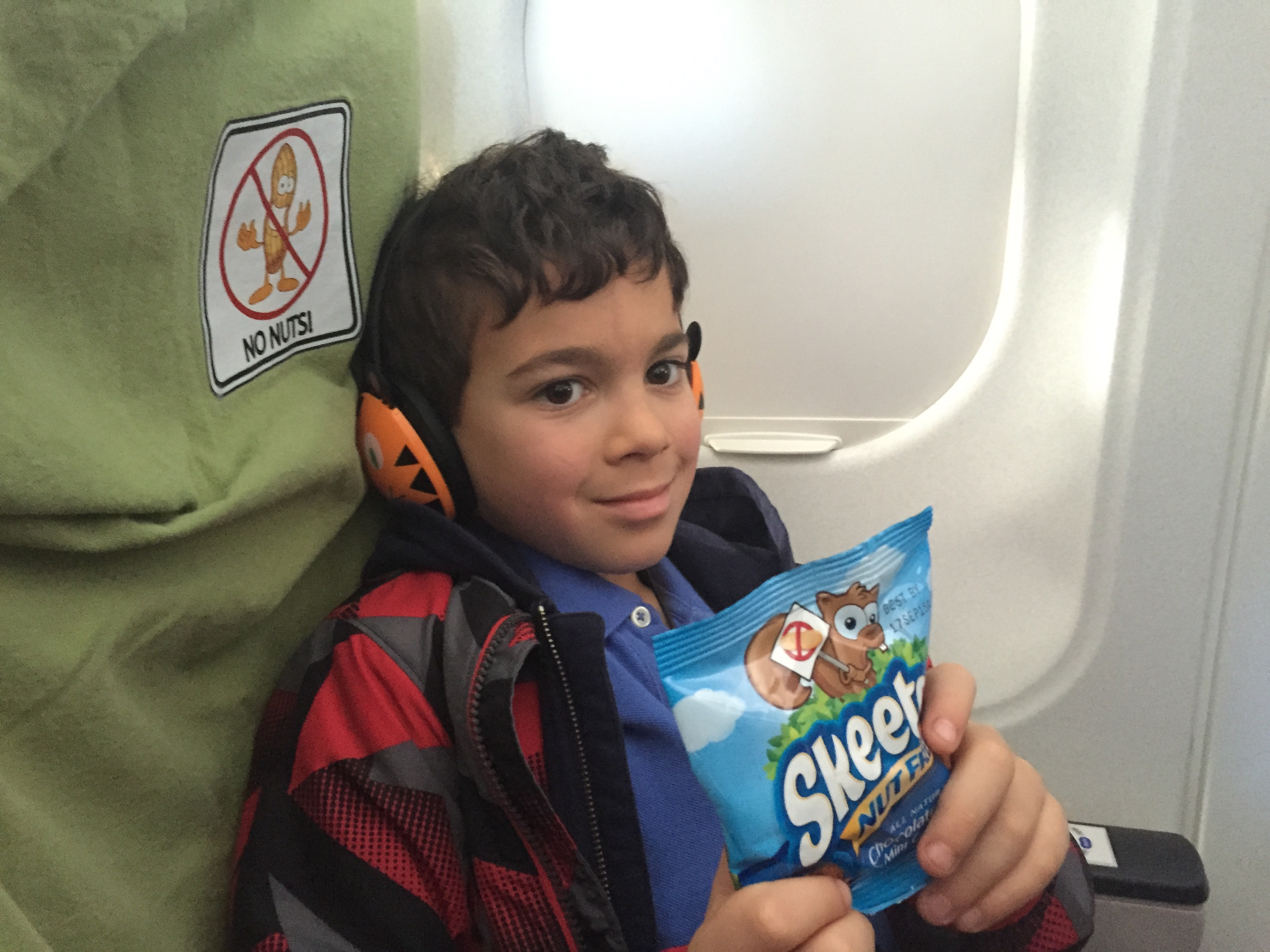 My peanut allergic son feeling happy and safe flying JetBlue Airways.