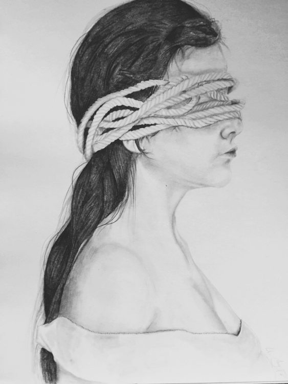 drawing of woman with ropes covering her face