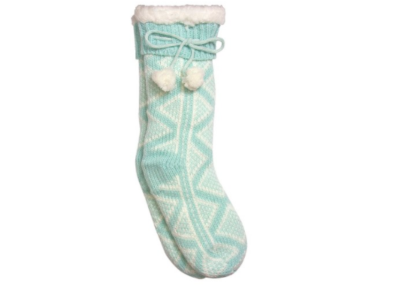 teal and white patterned slipper socks with bows