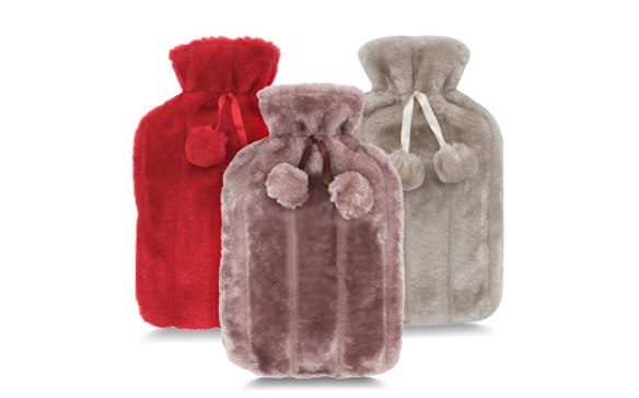 plush hot water bottle covers in red, pink and gray