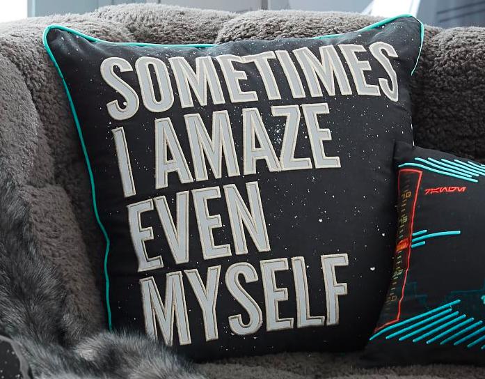black pillow that says sometimes i amaze even myself