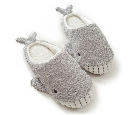 gray slippers that look like whales