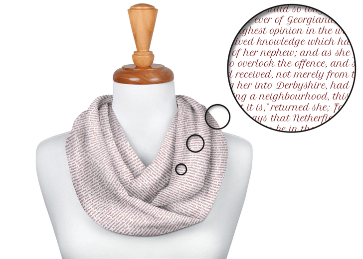 scarf with pride and prejudice text on it