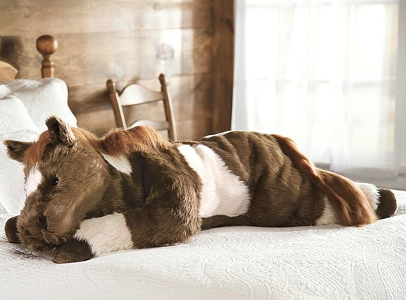 giant pillow brown and white pony