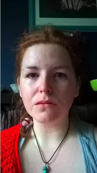 a woman looks sad