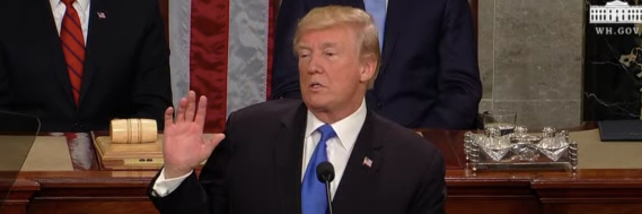 Trump speaking during his State of the Union address.