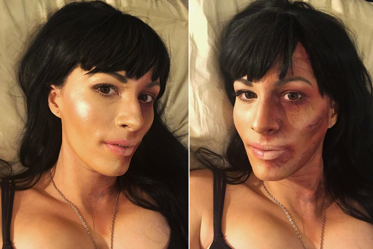 woman wearing makeup with one half of her face looking healthy and the other half looking sick