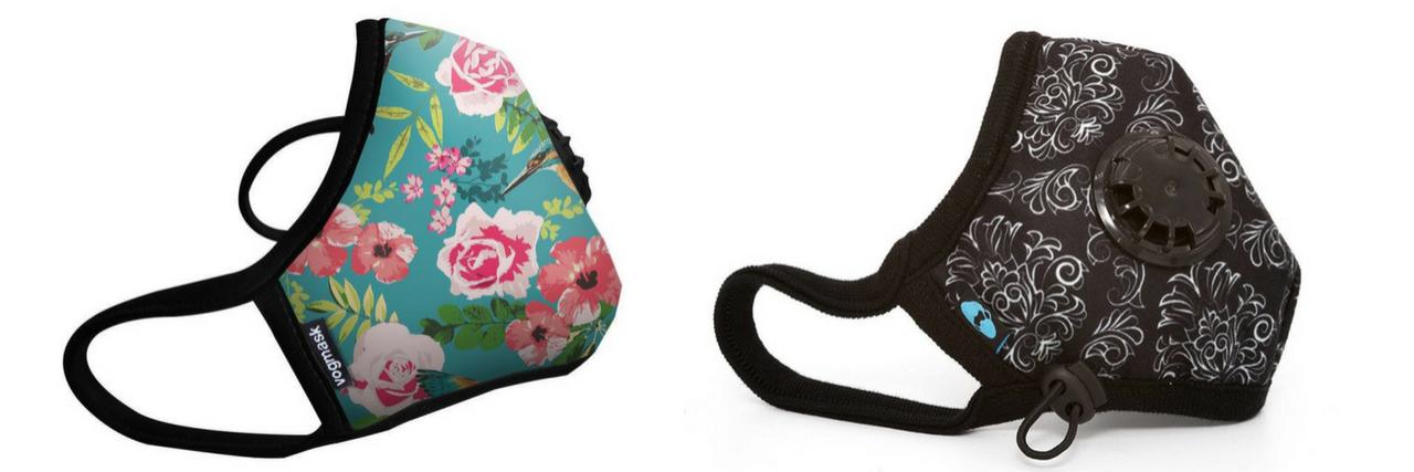 floral vogmask and black patterned cambridge face mask