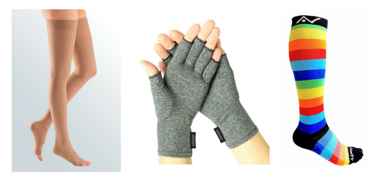 compression hose, compression gloves and compression socks