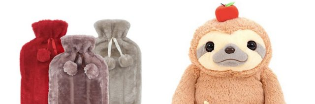 three fuzzy hot water bottle covers and stuffed sloth