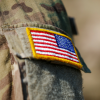 American flag on the shoulder of a army uniform