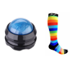 acupressure mat, massage roller ball and rainbow compression socks