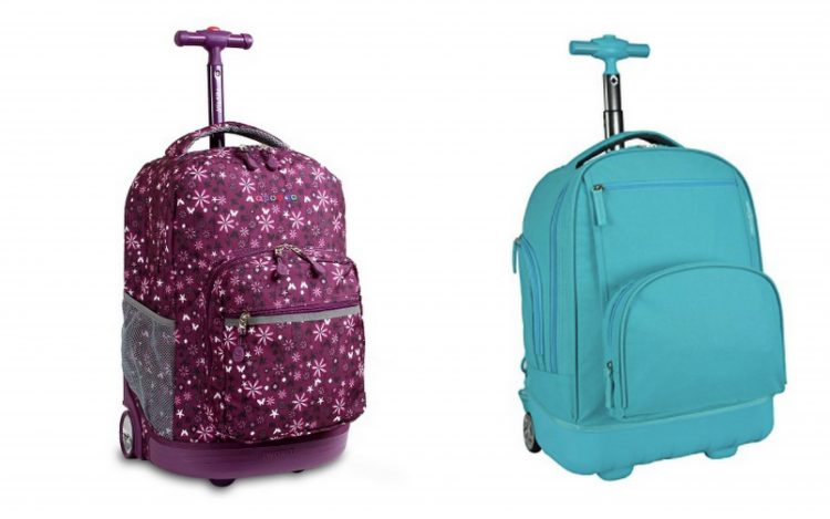 purple and teal rolling backpacks