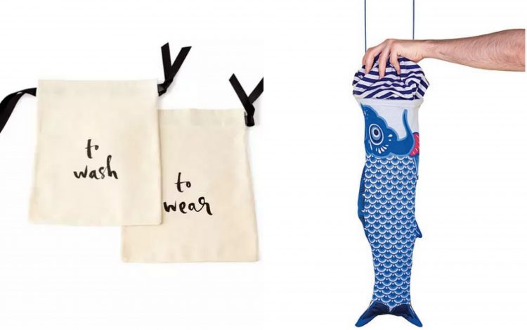 set of white bags that say to wash and to wear, and a laundry bag shaped like a koi fish