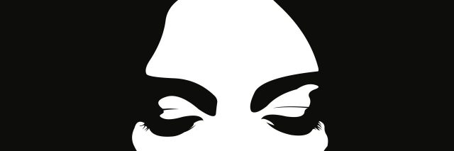 black and white illustration of a woman's face with her eyes closed