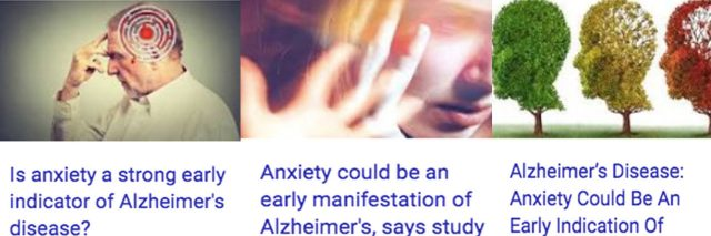 Collection of three articles about alzheimer's link to anxiety