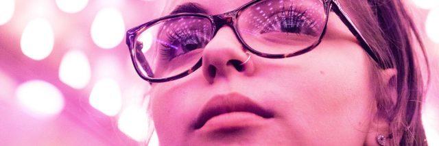 woman in pink lighting