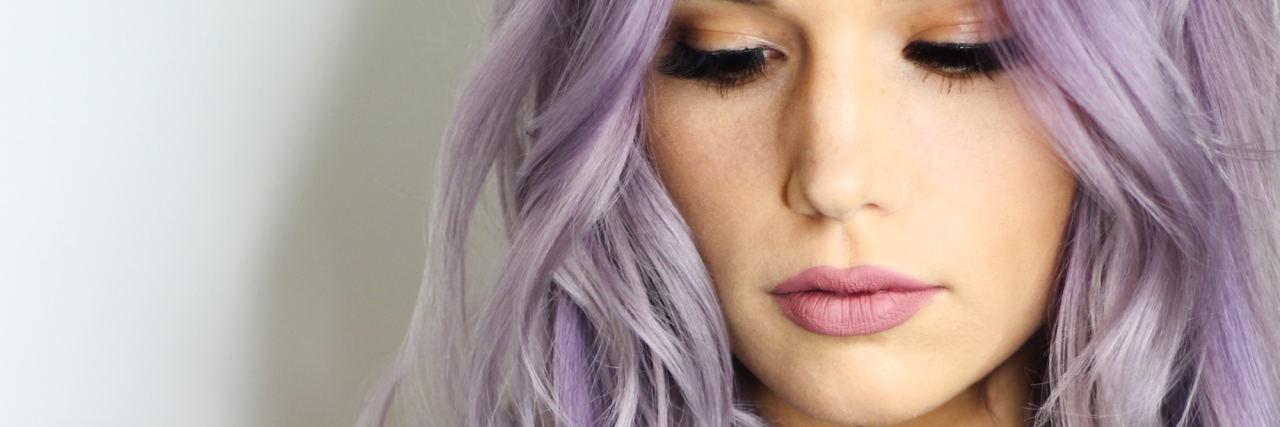 woman purple hair