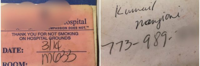 kumail nanjiani's photos of hospital badge and phone number