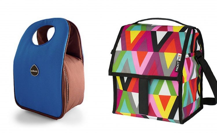 blue and brown lunch bag and multicolored geometric print lunch bag