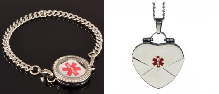 medical alert bracelet and heart shaped silver locket