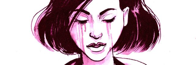 Ink sketch of a crying girl reading a letter