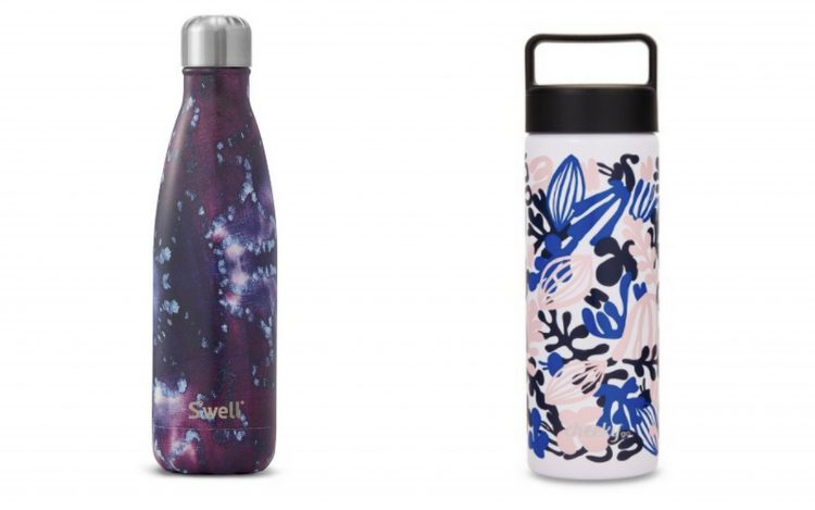 two water bottles with purple and blue designs