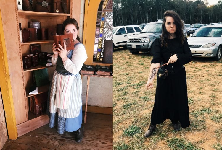 young woman in cosplay as Belle from beauty and the beast and Bellatrix from Harry Potter