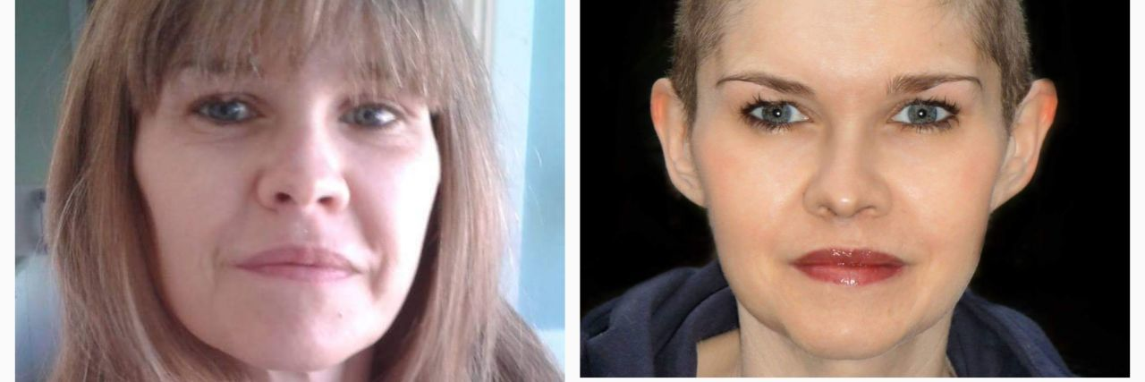 photo of woman with long hair and bangs, and two photos of her with a buzz cut