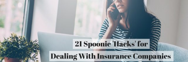photo of woman on the phone, with text 21 spoonie hacks for dealing with insurance companies