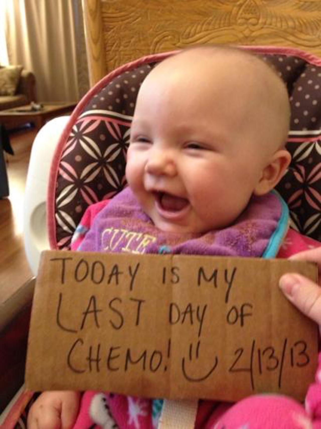 baby on her last day of chemo