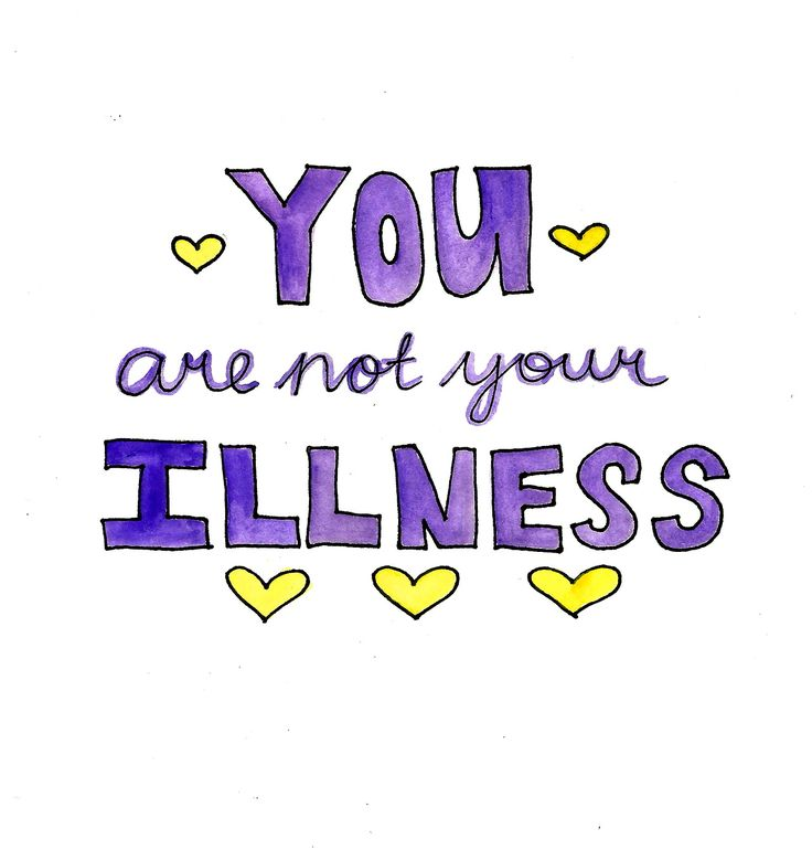 purple text that says 'you are not your illness' surrounded by yellow hearts