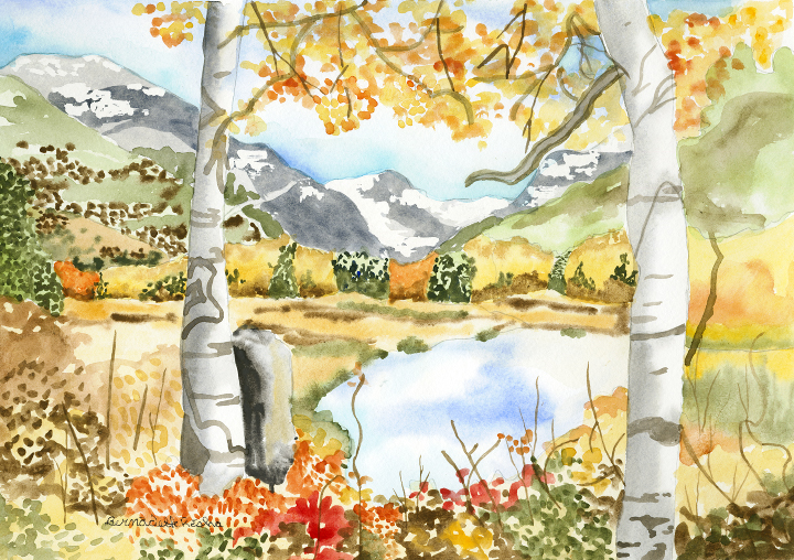 Outdoor scene painting, fall colors, trees, a lake, mountains in distance