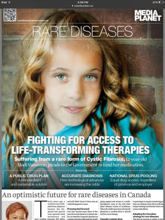 Beth's daughter on the cover of a Canadian publication about rare disease therapies