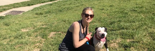Katie and her dog, Ernie, at a local park