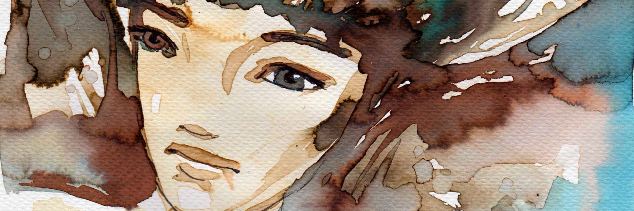 abstract brown and blue watercolor painting of a woman