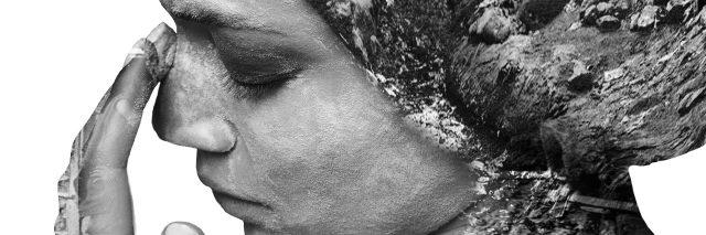Thoughtful woman, black and white art photo.