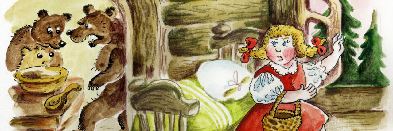 An illustration of Goldilocks running away from the three bears.