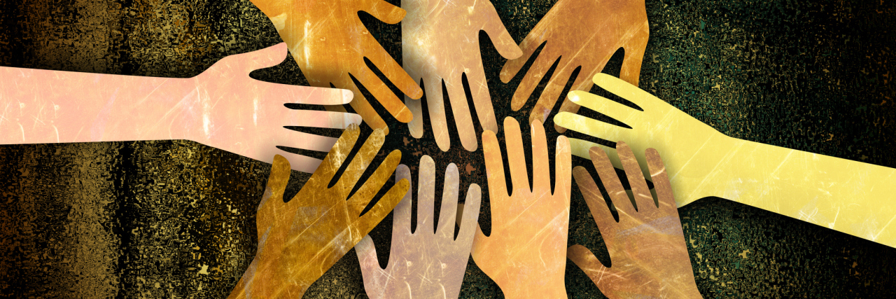 illustration of hands reaching out together in support
