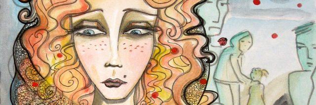 Pretty widow Illustration. Watercolor drawing
