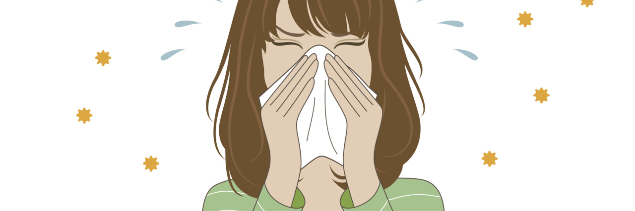 illustration of a woman blowing her nose
